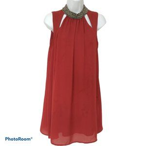 Speechless Red Beaded Hight Neck Shift Dress Sz S